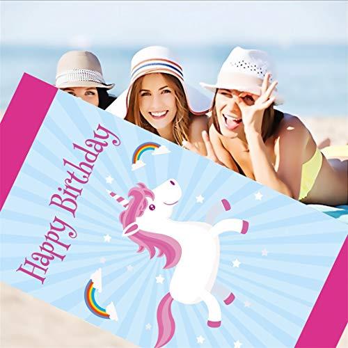 DXSX Unicornio Infantil niñas de Toalla de Playa Super Suave Absorción de Agua Toalla de baño de Microfibra Esterilla de Yoga Manta de Picnic 75x150 cm (Estilo #1)
