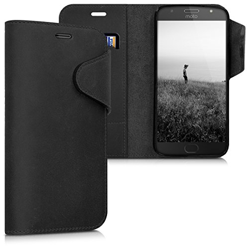 kalibri Wallet Hülle kompatibel mit Motorola Moto G5S Plus - Hülle Leder - Handy Cover Handyhülle in Schwarz