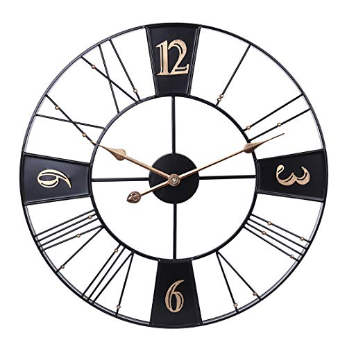 Whyzb Large Wall Clock 24 Inches Wrought Iron Silent Wall Clock Hollow Hanging Clock Retro Wall Clock