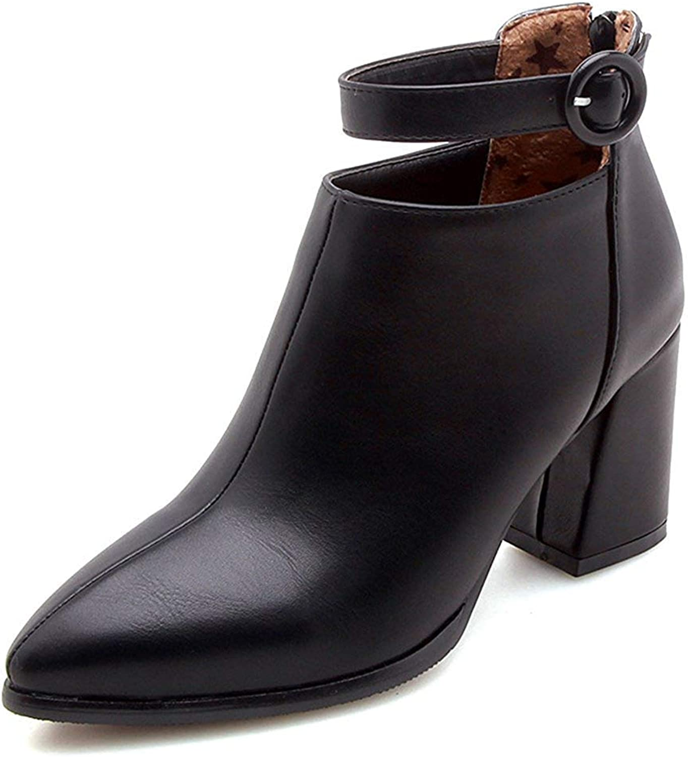 Unm Women's Dressy Short Boots with Ankle Strap - Buckled Zip up Pointy Toe - Chunky High Heel Ankle Booties
