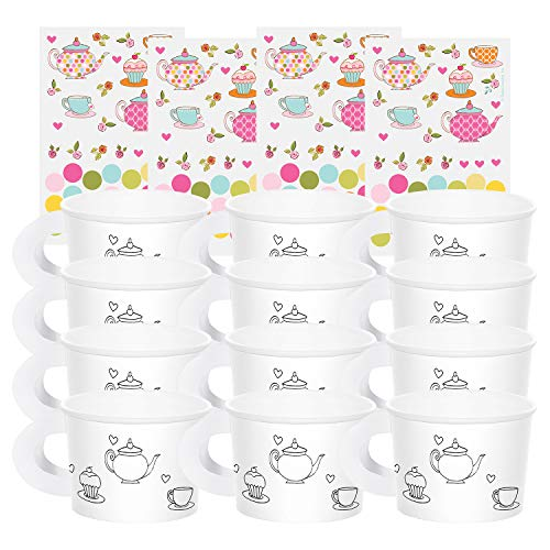 Creative Converting Tea Time Tea Party Decorate Your Own Favor Cups (2-Pack: 12 ct)
