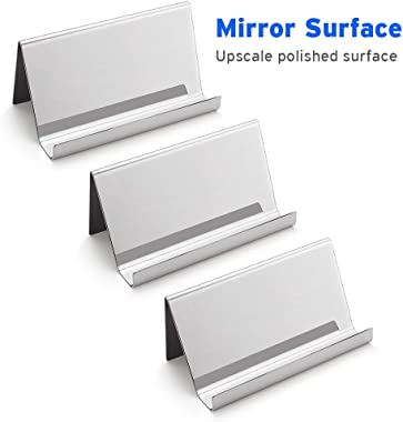 Sooez Business Card Holders Stand for Desk, 3 Pack Office Stainless Steel Business Card Table Top Display Stand Metal Name Card Holder Desktop Collection Rack Organizer, Mirror Silver