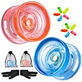 2 Pack MAGICYOYO Unresponsive Yoyos K2 PLUS CRYSTAL, Durable Plastic Yoyo for Kids Beginner, Professional Fingerspin Yo-yo with Extra 10 Yoyo Strings + 2 Gloves + 2 Storage Bags ( Crystal Blue+Orange)
