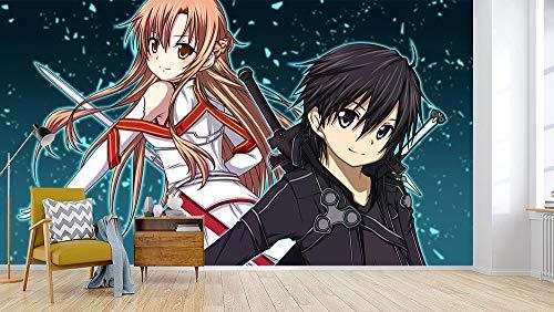 wywyet 3D Anime Tapeten Drucken Sword Art Online Cosplay Wandgemälde Wohnzimmer Wohnung Dekoration Moderne Wanddeko Wallpaper,350cmx256cm(W×H)