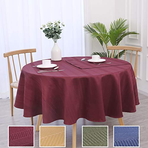 Randall Holiday Round Tablecloth Red 70 Waffle Stripe Water Proof Dust-Proof Table Cover for Kitchen Dinning Party Tabletop Decoration (7070, Wine Red)