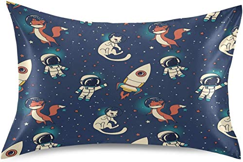 Fairy Flower Cute Astronaut Boy Satin Pillowcase for Hair and Skin Silk Pillowcase - Slip Cooling Satin Pillow Covers with Envelope Closure, King Size(20x40 inches)