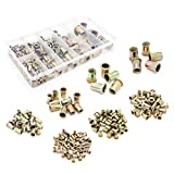 Yuhtech 165 PCS Écrou de Rivet en Acier au Carbone et Plaqué au Zinc Insers Fileté Ecrou Tête Ecrou M3 - M12 Flat Head Threaded Rivet Nuts