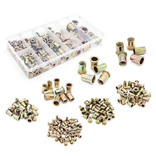 Yuhtech 165 Pcs Gemischte Nietmutter aus Kohlenstoffstahl, Nietmutter Werkzeug Flachkopf Gewinde Rivet Nutsert Cap Sortiment kit
