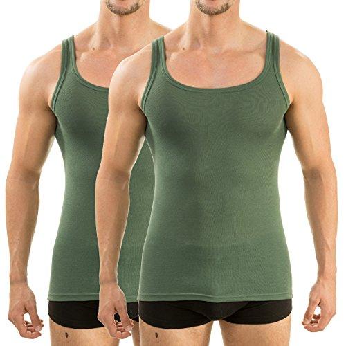 HERMKO 63000 2er Pack Herren Funktionsunterhemd, Tank Top (Weitere Farben), Größe:D 5 = EU M, Farbe:Olive