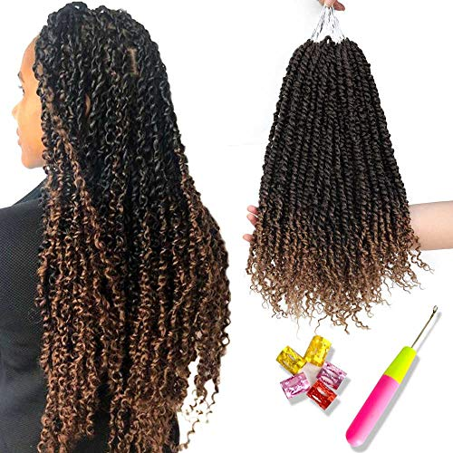 6 PCS Pre-twisted Passion Twist Crochet Hair Ombre Pretwisted Crochet Braids Spring Twist Hair Black To Honey Blonde Pre Looped Bohemian Synthetic Braiding Hair Extension For Women(18inch,T1B/27#)