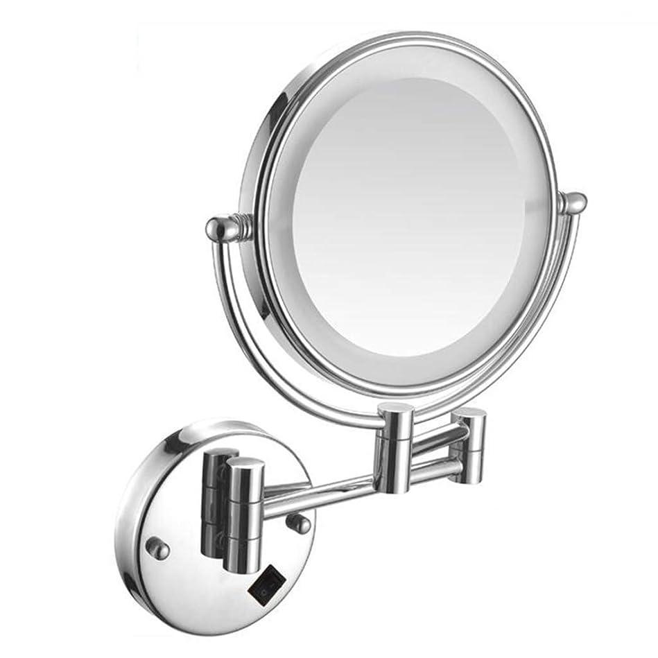 ギャロップ若さトーンHUYYA バスルームメイクアップミラー LEDライト付き 壁付、バニティミラー 3 倍拡大鏡 化粧鏡 両面 丸め 寝室や浴室に適しています有線接続,Silver