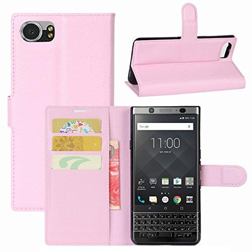 HualuBro BlackBerry KEYone Hülle, Leder Brieftasche Etui LederHülle Tasche Schutzhülle HandyHülle [Standfunktion] Handytasche Leather Wallet Flip Hülle Cover für BlackBerry KEYone (Pink)