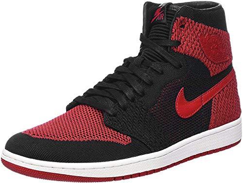 Nike Herren Air Jordan 1 Retro High Flyknit Schwarz Textil/Synthetik Sneaker 40.5