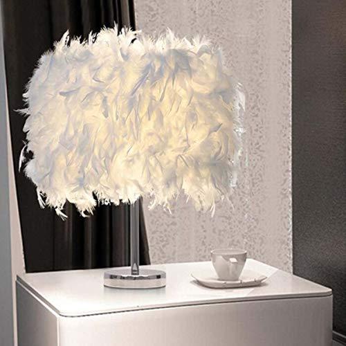 Lámpara de mesa LED de 220 V, con plumas, de metal, para mesita de noche, vintage, para Navidad, decoración suave, vintage, dormitorio, despacho, color blanco