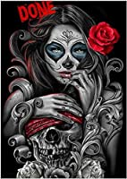 QMGLBG 5Dダイヤモンド塗装女の子と頭蓋骨のダイヤモンド塗装ラインストーン家の壁の装飾用品工芸品40*50cm