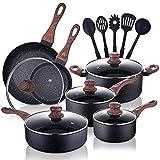 Allgetc Nonstick Cookware Pots and Pans Set, 16Pcs Kitchenware set with Frying Pan, Saucepan, Sauté Pan, Chef's Pan, PTFE/PFOA/PFOS free Cooking set with lids, Gas Induction Compatible