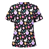 Fankle Women's Cute Scrub_Top Easter Theme Bunny Printed Holiday Tops Shorts Sleeve V-Neck Comfty Working Uniform with Pockets(Black #01,L)
