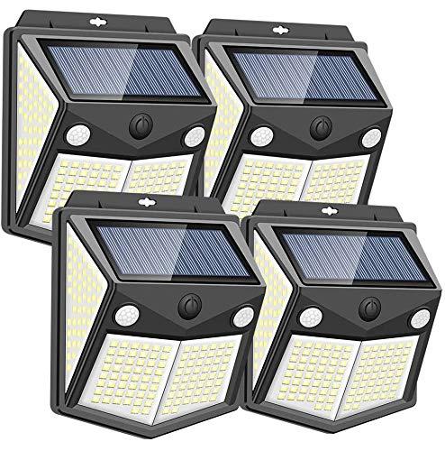 200 LEDs Solarlampen für Außen mit Bewegungsmelder aussen[4 Stück/2200mAh/1500lm]Solarleuchten für außen Garten 3 Modi IP65 Wasserdichte Wandleuchte Beleuchtung Aussenleuchte