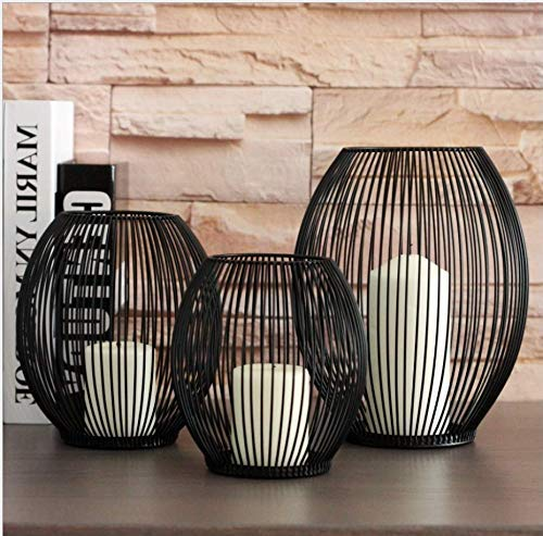Esporta In Stile Europeo Semplice Portacandele In Ferro Battuto Lanterna Astratta Nero Home Shop Furnishings Ornamenti Decorativi, 19.5 * 11.5 * 24.5 Cm