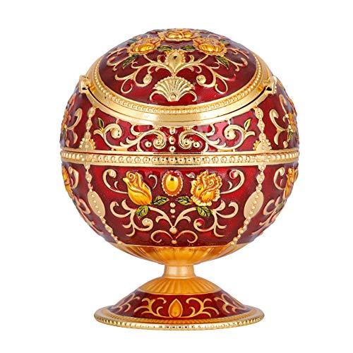 Akozon Runde Ball Portable Mini Metall Runde Kugel gestempelt Muster Geschenk Dekoration Retro Kreative Zinklegierung Ball Aufbewahrungsbox mit Abdeckung(# 01 Red rose)