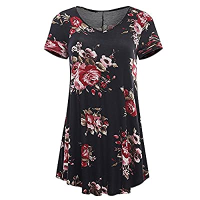 TWGONE Short Sleeve Tunic Dresses for Women to Wear with Leggings Ladies T-Shirt Round Neck Casual Tops Blouse Tee