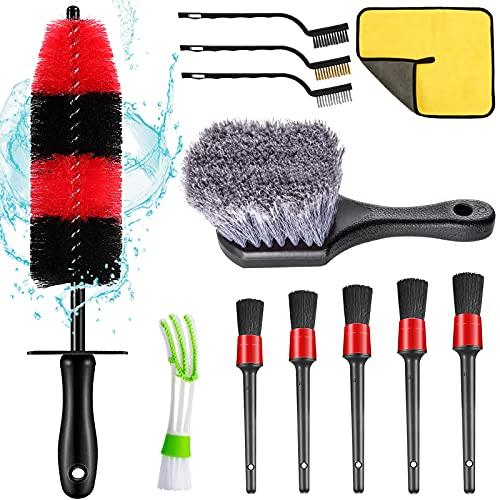 Nolimas 12Pcs Car Wheel & Tire Brush Kit,Including 17inch Long Wheel Brush,Short Handle Tire Brush,5pcs Detailing Brushes Kit & 3pcs Wire Brushes for Cleaning Car Wheels & Interior Exterior