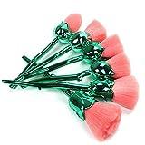 Coshine 6pcs Pro incantato rosa fiore nylon set di pennelli per trucco, per fondotinta, cipria in polvere, blush, ombra