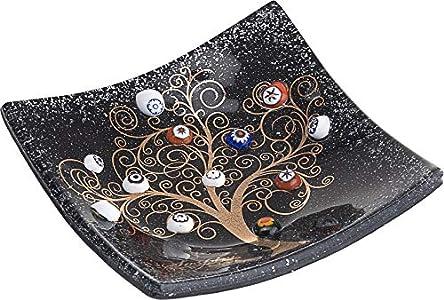 SOSPIRI VENEZIA - Plato – Árbol de la vida – de cristal con murrinas de Murano y hoja de oro, hecho a mano por artesanos venecianos, 9 x 9 cm (negro)