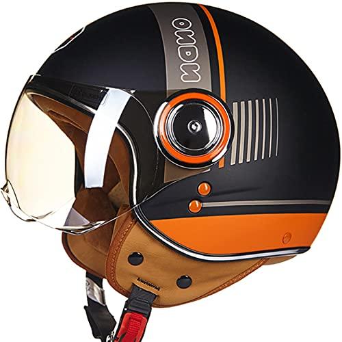 Casco de Moto de Abierta Negro Mate Naranja Medio Casco de Moto...