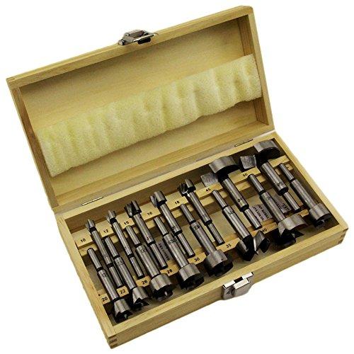 Juego de brocas tipo Forstner 15 teilig madera 10 de hasta 50 mm incluye estuche de madera B1932
