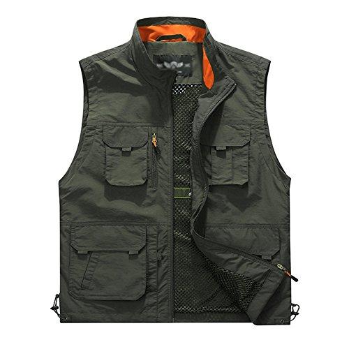 Guiran Herren Weste Outdoor Reporter Fotografie Weste Ärmellose Hemd Safari Weste Mit Vielen Taschen Für Jagd Angeln Camping Armee-Grün XL