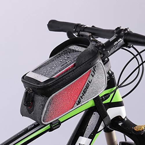 SanQing Bolso de Marco de Bicicleta, Bolsas de Manillar Impermeables se Adapta a Todas Las Bicicletas-Bolsa de Bicicleta Pantalla táctil para teléfono Inteligente por Debajo de 6 Pulgadas,Red
