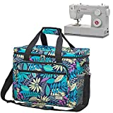 HOMEST Universal Sewing Machine Case with Multiple Pockets for Sewing Notions, Tote Bag Compatible with Singer Quantum Stylist 9960, Singer Heavy Duty 4423, Floral