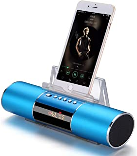JX2 Sansui E19 Wireless Bluetooth Portable Speaker LED Clock Display TF Card FM Radio with Phone Holder for Phones Pads, Laptops and Desktops, MP3 & DVD Players (Blue)