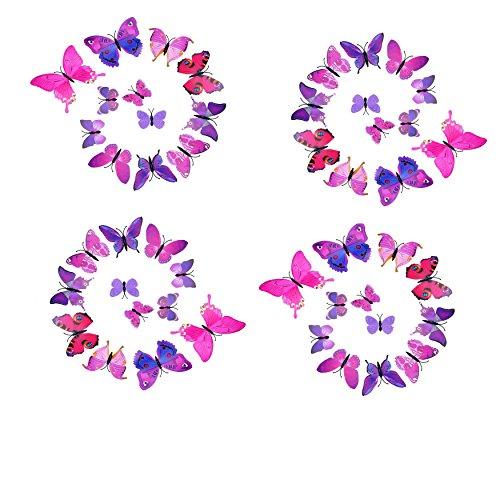 ILOVEDIY 12 Stück 3D Schmetterlinge Deko Wandtattoo Kinderzimmer Wanddeko Grün wandbilder Wandaufkleber Magnet Kühlschrankmagnet (Rosarot)