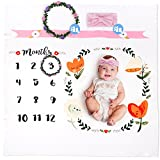 Baby Monthly Milestone Blanket by Brule Gifts | Bonus Headband & Floral Wreath Frame | Soft Photography Background Prop for Boy or Girl Month Pictures | Baby Shower Gift New Mom | Newborn to 12 Months
