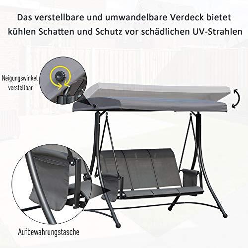 Outsunny 3-Sitzer Hollywoodschaukel, Gartenschaukel mit Sonnendach, Schaukelbank mit Ablage, Aluminium, Grau, 196 x 128 x 172 cm - 7