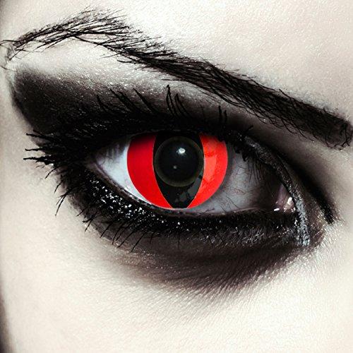 Designlenses Lenti a Contatto Colorate Rosso Occhio di Gatto in Rosse per Halloween Costume, morbide, Non corrette Modello: Red Cat Eye