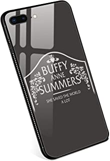 iPhone 8 Plus Cases, Buffy Anne Summers Tempered Glass iPhone 7 Plus Case with Clear Ring Kickstand Black Cover Rotating Stand Case for iPhone 7/8 Plus 5.5