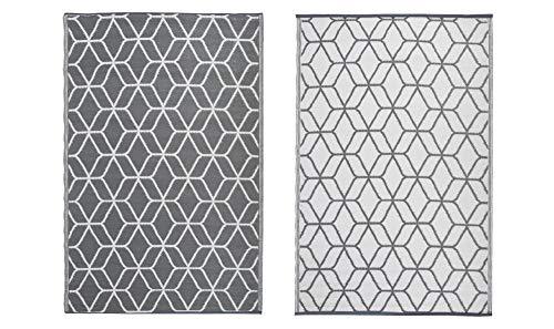 Esschert Design Gartenteppich mit Motiv Grafisch, 121 x 180 x 0,9 cm, in beige/weiß,Vorleger, Fuß Abstreifer