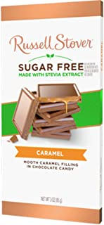 Russell Stover Sugar Free Milk Chocolate Caramel Tile Bar, 3 oz