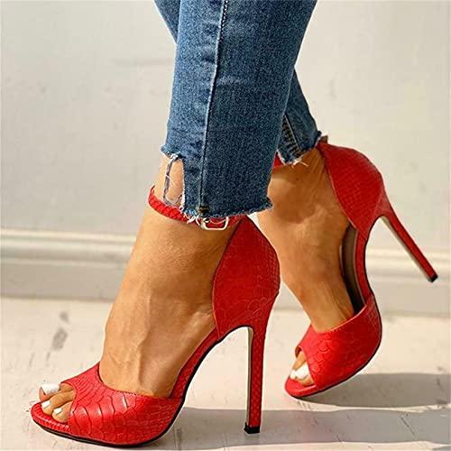Sandali con tacco a spillo con punta aperta da donna, scarpe eleganti, tacchi alti per donna, punta aperta sexy, tacchi colorati con cinturino alla caviglia in pelle di serpente (Rosso, 38)