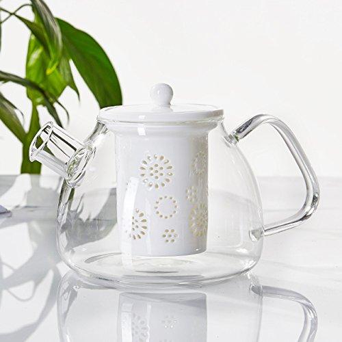 TAMUME 1000ml Tetera de Vidrio con Filtro de Tetera de Porcelana (White)