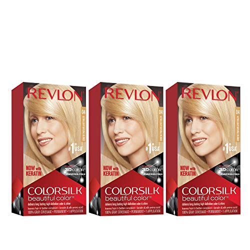Revlon Colorsilk Beautiful Color, Permanent Hair Dye with Keratin, 100% Gray Coverage, Ammonia Free, 04  Ultra Light Natural Blonde (Pack of 3)