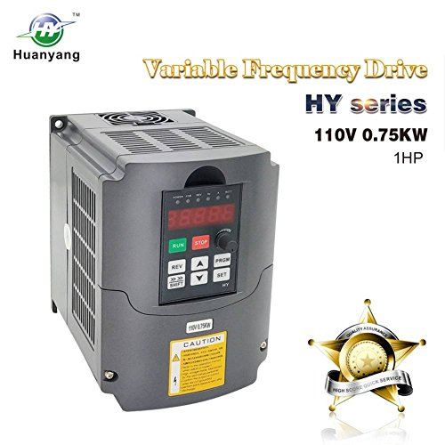 VFD 110V 0.75KW 1hp Variable Frequency Drive CNC VFD Motor Drive Inverter Converter for Spindle Motor Speed Control HUANYANG HY-Series(0.75KW, 110V)