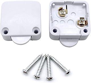 Mila-Amaz 2Pcs Interruttori per Porte per Armadietti Switch Push Porta Interruttore ON/OFF 250V 2A Surface Spingere per In...