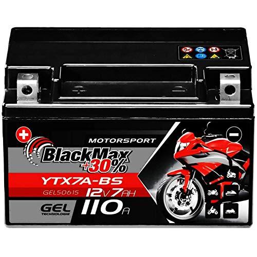 BlackMax YTX7A-BS Motorradbatterie GEL 12V 7Ah CTX7A-BS JMTX7A-BS Batterie 50615
