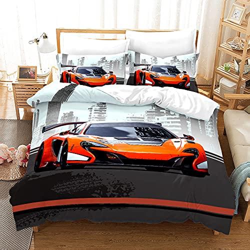 XSXS Set di biancheria da letto per bambini, con motivo a passeggino sportivo, in microfibra, di qualità celeste, con 1/2 federe (motivo 9,135 x 200 cm)