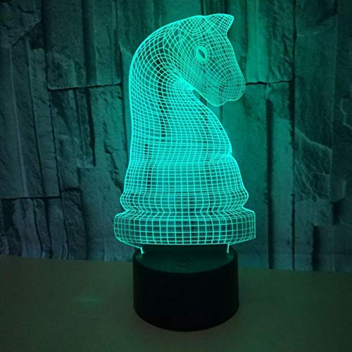 Yujzpl 3D-illusielamp Led-nachtlampje, USB-aangedreven 7 kleuren Knipperende aanraakschakelaar Slaapkamer Decoratie Verlichting voor kinderen Kerstcadeau-Schaken paard