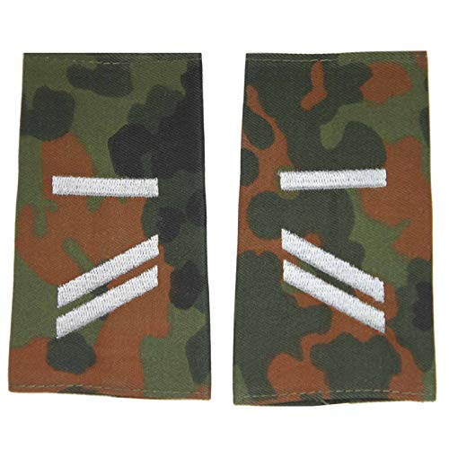 baum-m gmbh Rangschlaufen für Schulterklappen für die Deutsche Bundeswehr flecktarn mit weißem Stick Obergefreiter U/A